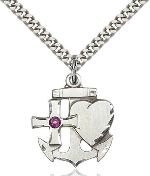 Bliss Anchor Cross and Heart February Amethyst Birthstone Pendant Necklace