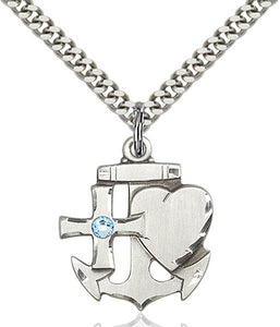 Bliss Anchor Cross and Heart March Aqua Birthstone Pendant Necklace