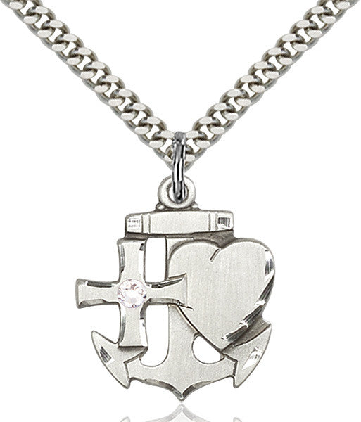 Bliss Anchor Cross and Heart Shaped April Crystal Birthstone Pendant Necklace