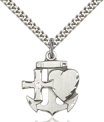 Bliss Anchor Cross and Heart April Crystal Birthstone Pendant Necklace