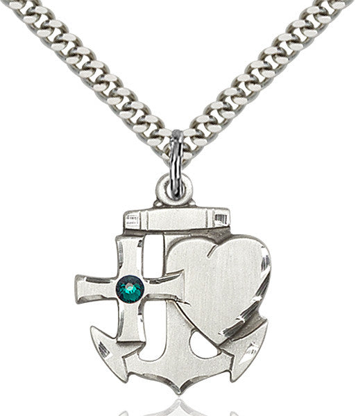 Bliss Anchor Cross and Heart Shaped May Emerald Birthstone Pendant Necklace