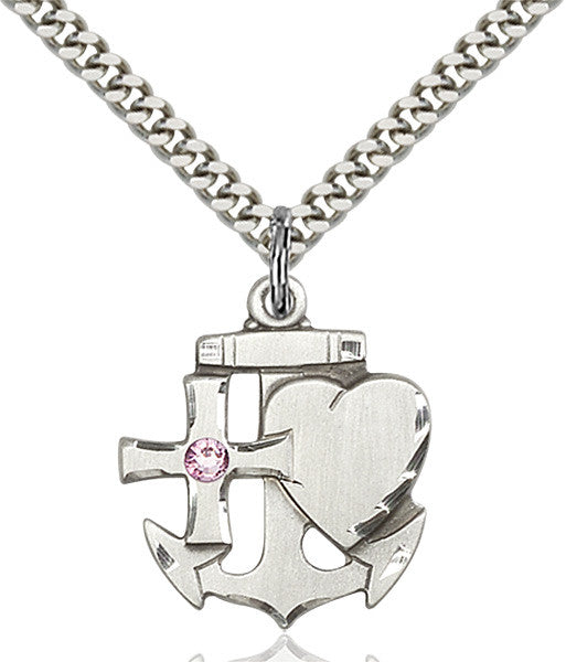 Bliss Anchor Cross and Heart Shaped June Lt Amethyst Birthstone Pendant Necklace