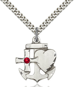 Bliss Anchor Cross and Heart Shaped July Ruby Birthstone Pendant Necklace