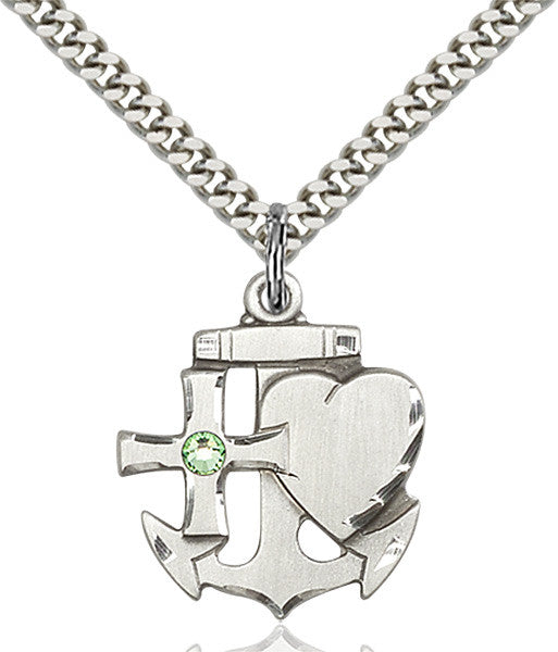 Bliss Anchor Cross and Heart Shaped August Peridot Birthstone Pendant Necklace