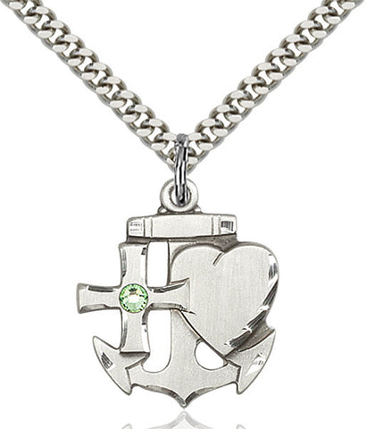 Bliss Anchor Cross and Heart August Peridot Birthstone Pendant Necklace