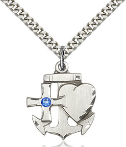 Bliss Anchor Cross and Heart Shaped Sterling September Sapphire Birthstone Pendant Necklace
