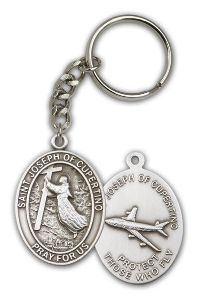 St Joseph of Cupertino Patron Saint Antique Silver or Gold Keychain by Bliss
