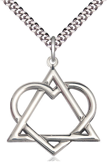 Bliss Adoption Heart Shaped Sterling Silver Pendant Necklace w/Chain