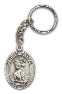 St Christopher Patron Saint Antique Gold or Silver Medal Keychain by Bliss