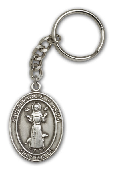 St Francis of Assisi Patron Saint of Animals Death Antique Gold or Silver Medal Keychain by Bliss
