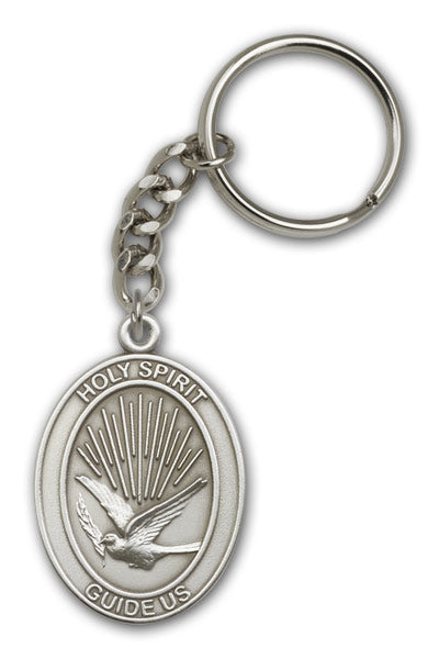 Holy Spirit Dove Antique Gold or Pewter Medal Keychain by Bliss Manufacturing