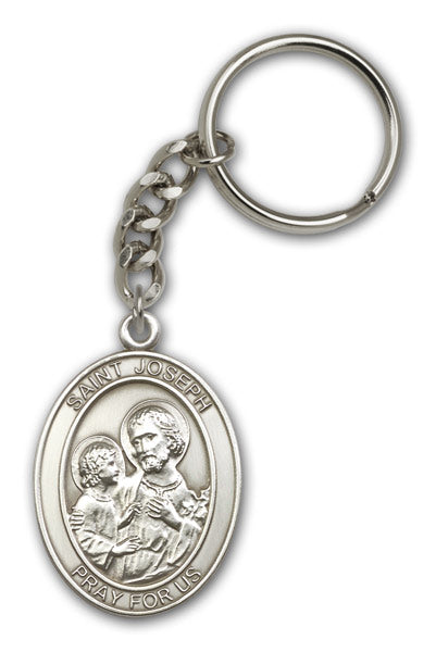 St Joseph Patron Saint of Families Antique Gold or Pewter Medal Keychain by Bliss