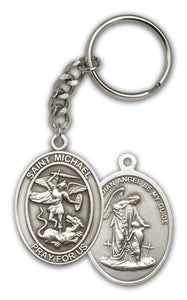 St Michael the Archangel and Guardian Angel Antique Gold or Silver Medal Keychain by Bliss
