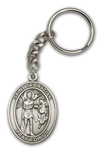 St Sebastian Patron Saint of Athletes Antique Gold or Silver Medal Keychain by Bliss