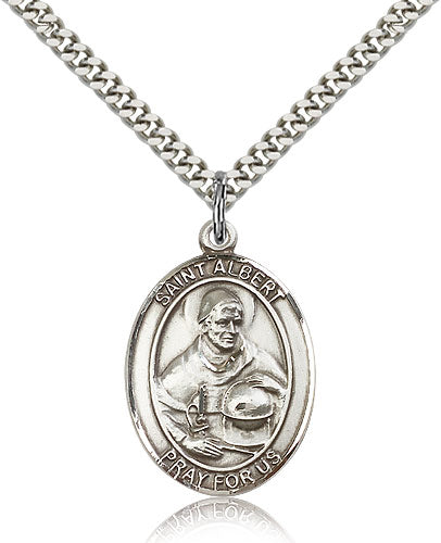 Bliss Manufacturing St Albert the Great Catholic Patron Saint Oval Medal Pendant Necklace