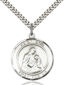Bliss Manufacturing St Ann Round Patron Saint Medal Pendant Necklace