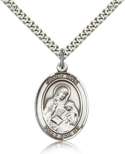 Bliss Manufacturing St Ann Catholic Patron Saint Oval Pendant Necklace