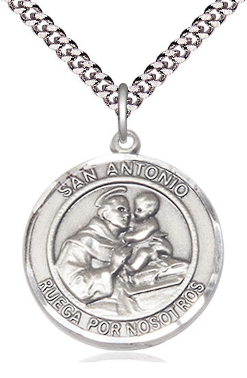 Bliss Manufacturing Spanish San Antonio/St Anthony of Padua Sterling Silver Medal Pendant Necklace