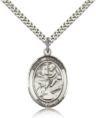 Bliss Manufacturing St Anthony of Padua Patron Saint Oval Pendant Necklace