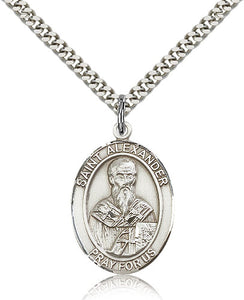 Bliss Manufacturing St Alexander Sauli Catholic Patron Saint Oval Medal Pendant Necklace