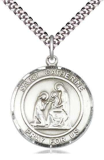 Bliss Large St Catherine of Siena Round Patron Saint Sterling Silver Medal Pendant Necklace