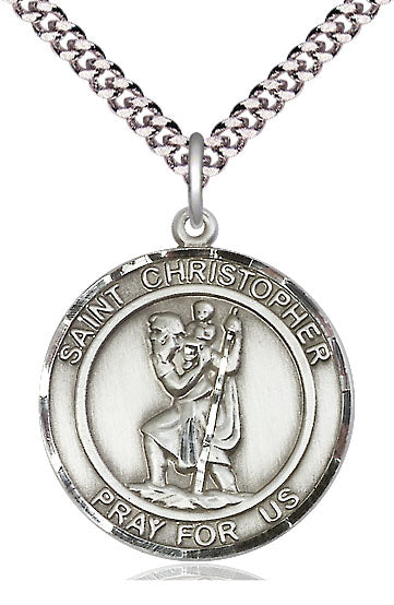 Bliss Large St Christopher Round Patron Saint Sterling Silver Medal Pendant Necklace