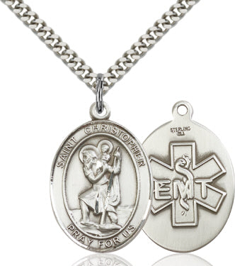St Christopher Large EMT Sterling Silver Religious Medal Necklace by Bliss Mfg