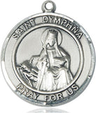 Bliss Manufacturing St Dymphna Round Patron Saint Sterling Silver Medal Pendant Necklace