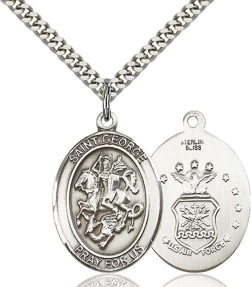 Large St George Air Force Patron Saint Religious Medal Necklace by Bliss Mfg