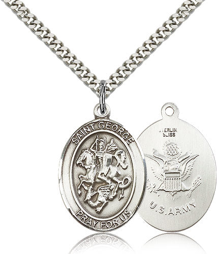 Large St George Army Patron Saint Religious Medal Necklace by Bliss Mfg