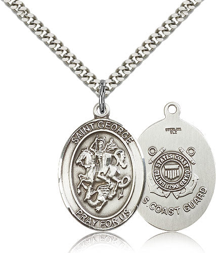 Large St George Coast Guard Patron Saint Religious Medal Necklace by Bliss Mfg