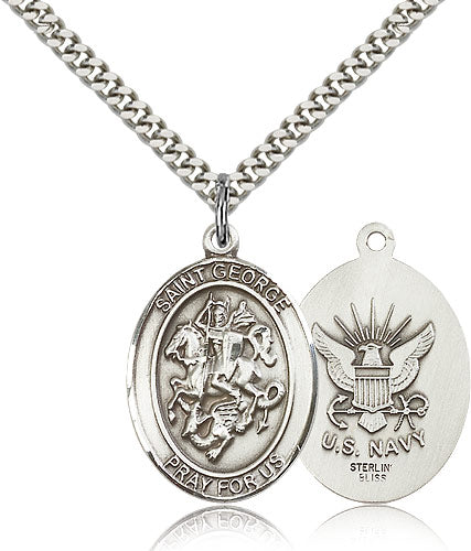 Large St George Navy Patron Saint Religious Medal Necklace by Bliss Mfg
