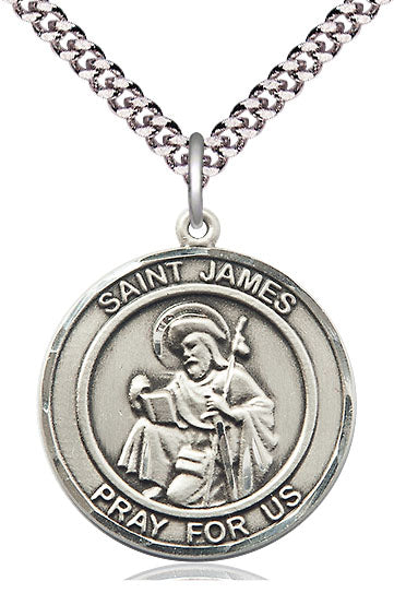 Bliss Large St James the Greater Round Patron Saint Medal Pendant Necklace