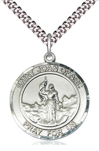 Bliss Large St Joan of Arc Round Patron Saint Medal Pendant Necklace