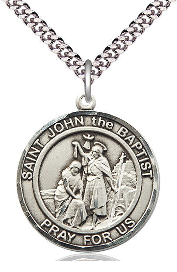 Bliss Large St John the Baptist Round Patron Saint Medal Pendant Necklace