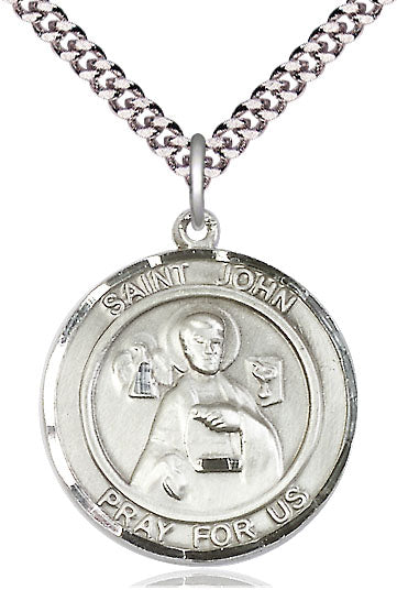 Bliss Large St John the Apostle Round Patron Saint Medal Pendant Necklace