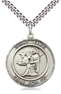 Bliss Large St Luke the Apostle Round Patron Saint Medal Pendant Necklace