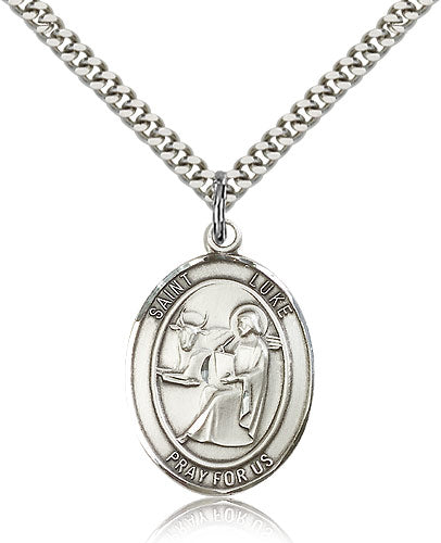 Bliss Manufacturing St Luke Patron Saint of Doctors Oval Pendant Necklace