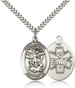 Large St Michael EMT Sterling Silver Patron Saint Religious Medal Necklace by Bliss