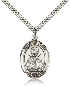 Bliss Manufacturing St Timothy Catholic Patron Saint Oval Pendant Necklace