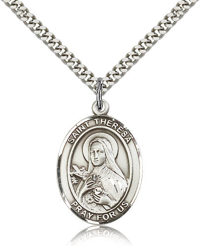 Bliss Manufacturing St Theresa Catholic Patron Saint Oval Pendant Necklace