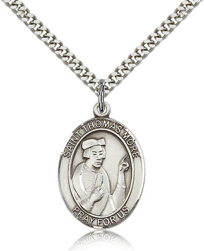 Bliss Manufacturing St Thomas More Catholic Patron Saint Oval Pendant Necklace