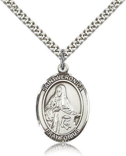 Bliss Manufacturing St Veronica Catholic Patron Saint Oval Pendant Necklace