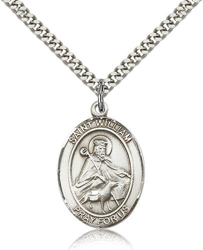 Bliss Manufacturing St William of Rochester Catholic Patron Saint Oval Pendant Necklace