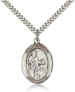 Bliss Manufacturing St Zachary Catholic Patron Saint Oval Pendant Necklace
