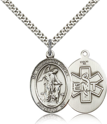 Large St Guardian Angel EMT Sterling Silver Saint Religious Medal Necklace by Bliss Mfg