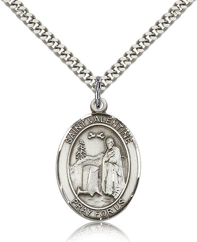 Bliss Manufacturing St Valentine of Rome Catholic Patron Saint Oval Pendant Necklace
