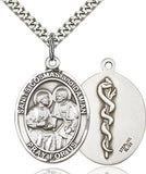 Bliss St Cosmas and St Damian Patron Saint of Surgeons Medical Symbol on Back Pendant Necklace