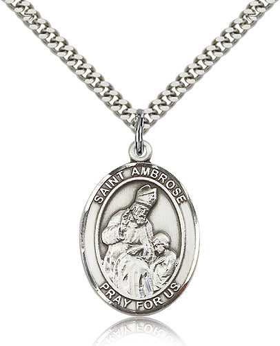 Bliss Manufacturing St Ambrose Catholic Patron Saint Oval Medal Pendant Necklace