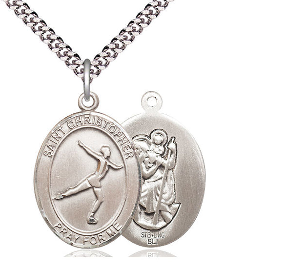 Bliss St Christopher Figure Skating Patron Saint Medal Pendant Necklace